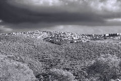 Arab Settlement in Israel. Galilee mountains arab settlement in Israel. Panorama of Galilee- the Northern District of Israel. Black and White Picture Royalty Free Stock Images