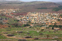 Galilee mountains housing view. Galilee mountains agricultural valley and arabic settlement. View from Arbel cliff. Low Galilee, Israel Stock Photo