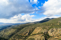 Galilee mountains landscape, green valley. Heights, blue sky with white clouds Stock Photos