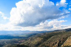 Galilee mountains landscape, green valley. Heights, blue sky with white clouds Stock Photo