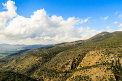 Galilee mountains landscape. Heights, blue sky with white clouds Royalty Free Stock Photos