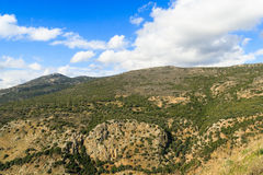 Galilee mountains landscape. Heights, blue sky with white clouds Stock Photos