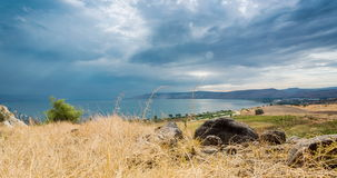 Galilee panorama taken from Mount of Beatitudes stock video footage