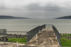 Galilee sea with pier stock images