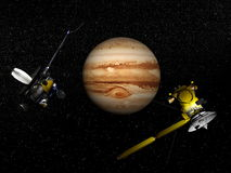 Galileo and Cassini spacecraft next to Jupiter - 3D render Stock Image
