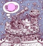 Galileo Galilei en un telescopio Foto de archivo