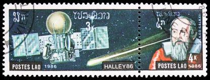 Galileo Galilei Halley Comet serie, circa 1986 arkivfoto