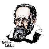 Galileo Galilei Portrait. Galileo Galilei watercolor vector portrait with ink contours. The Italian polymath vector illustration