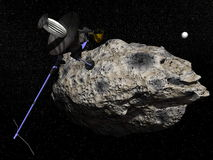 Galileo spacecraft discovering Dactyl orbiting the asteroid Ida Stock Images