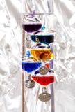 Galileo Thermometer. With Mylar background Stock Photo