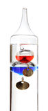 Galileo thermometer on the white Royalty Free Stock Images