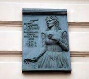 Galina Kovaleva sur la plaque commémorative Images stock