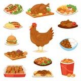 Galinha-asas da galinha e do alimento do caráter do pintainho dos desenhos animados do vetor da galinha com vegetais e salsicha d ilustração stock