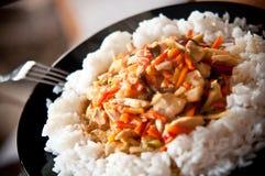 Galinha chinesa do alimento com vegetais e arroz foto de stock royalty free