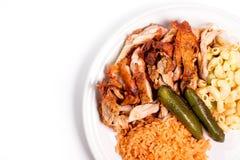 Galinha com arroz e salada imagens de stock royalty free