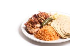 Galinha com arroz e salada imagem de stock royalty free