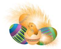 Galinha com ovos da páscoa ilustração do vetor