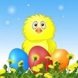 Galinha com ovos da páscoa Imagens de Stock
