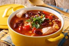 Galinha com pimentão, feijões, milho e close-up dos tomates em uma bacia Imagem de Stock Royalty Free