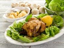 Galinha com salada verde foto de stock