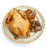 Galinha cozinhada, temperada e seu innards. Fotografia de Stock Royalty Free