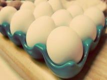 A galinha crua eggs no vintage da cor do sepia da bandeja da caixa de ovo retro Fotografia de Stock Royalty Free