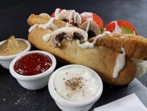 Galinha da mostarda da ketchup da maionese dos molhos do alimento Fotografia de Stock