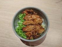Galinha de Teriyaki com arroz Fotos de Stock