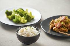 Galinha deliciosa do molho de soja com arroz - estilo asiático do alimento fotografia de stock royalty free