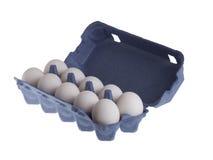 A galinha dez eggs no pacote isolado no branco Imagem de Stock