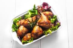 Galinha do assado com salada Foto de Stock Royalty Free
