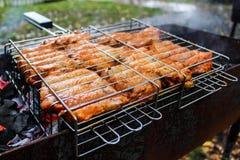 Galinha do BBQ na grade Imagens de Stock