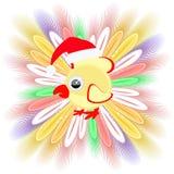 Galinha do galo do Natal do símbolo do galo novo da imagem do ícone com penas para gastar para o projeto, a imprensa, t-shirt Vet Fotos de Stock