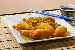 Galinha do limão e arroz fritado Fotografia de Stock