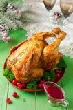 Galinha do Natal com molho de arando Imagens de Stock