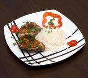 Galinha e arroz Foto de Stock