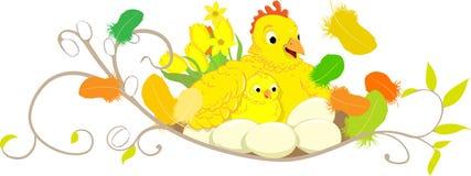 Galinha e galinha do éster com ovos e penas Fotografia de Stock Royalty Free