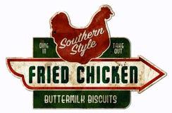 A galinha e os biscoitos assinam o cozimento do sul do vintage retro imagem de stock