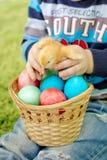 Galinha e ovos da páscoa pequenos nas mãos do bebê Imagem de Stock Royalty Free