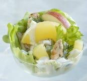 Galinha e salada de frutas Foto de Stock Royalty Free