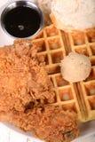 Galinha e waffles Imagens de Stock