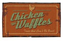 Galinha e waffles Tin Sign Imagens de Stock Royalty Free