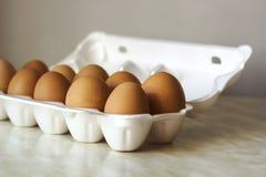 A galinha eggs a cor na espuma que empacota, efeito do vintage Imagens de Stock Royalty Free