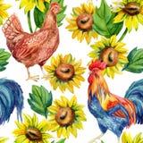 Galinha, galinha, galo Pintura da aguarela ilustração do vetor