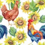 Galinha, galinha, galo Pintura da aguarela ilustração stock