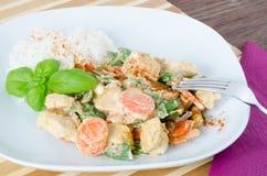 Galinha grelhada com legumes misturados e arroz Imagem de Stock