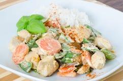 Galinha grelhada com legumes misturados e arroz Fotografia de Stock