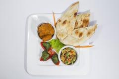 Galinha Harialy Kabab, caril do masala de Tikka da galinha, vegetal indiano da mistura do estilo, nan liso e bandeja de salada ve Imagem de Stock Royalty Free