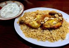 Galinha Mandi do restaurante libanês fotos de stock royalty free