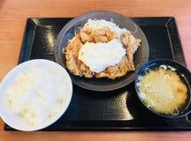 Galinha, molho, arroz, e sopa de miso deliciosos imagem de stock
